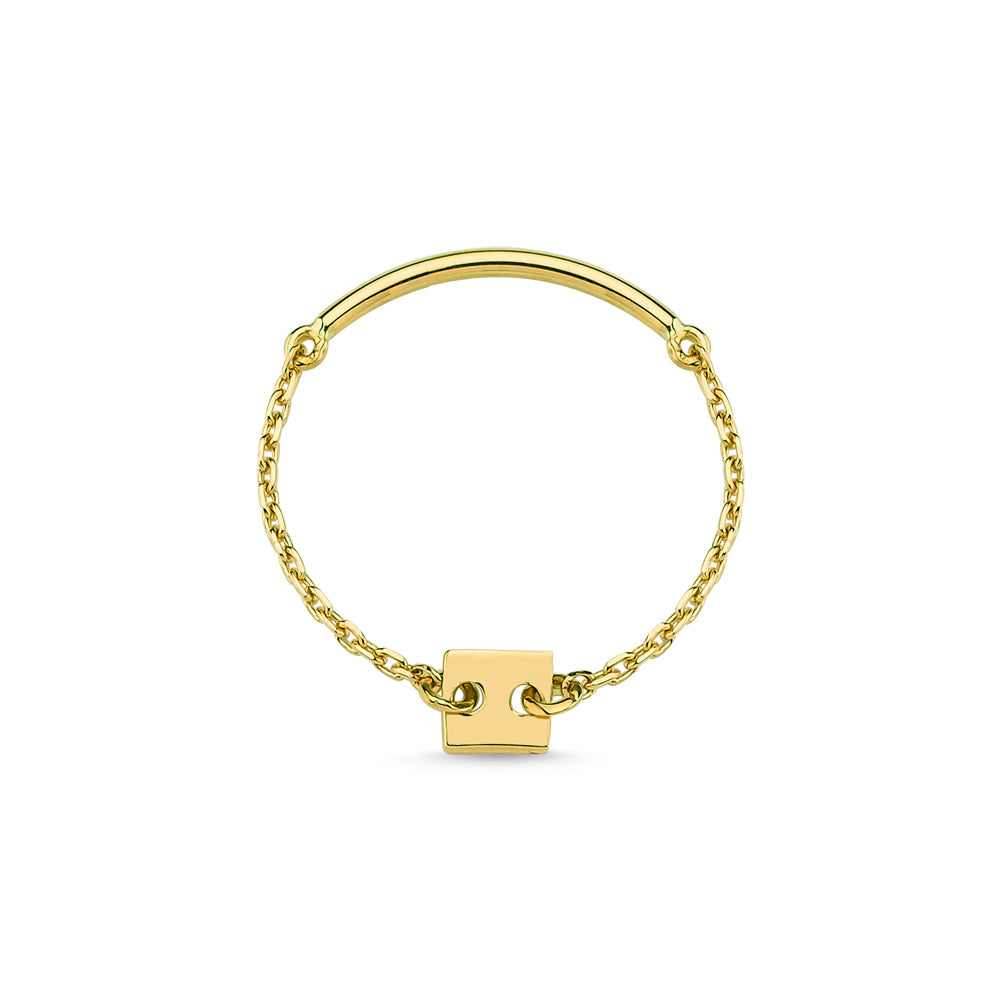 Gold Square Chain Ring
