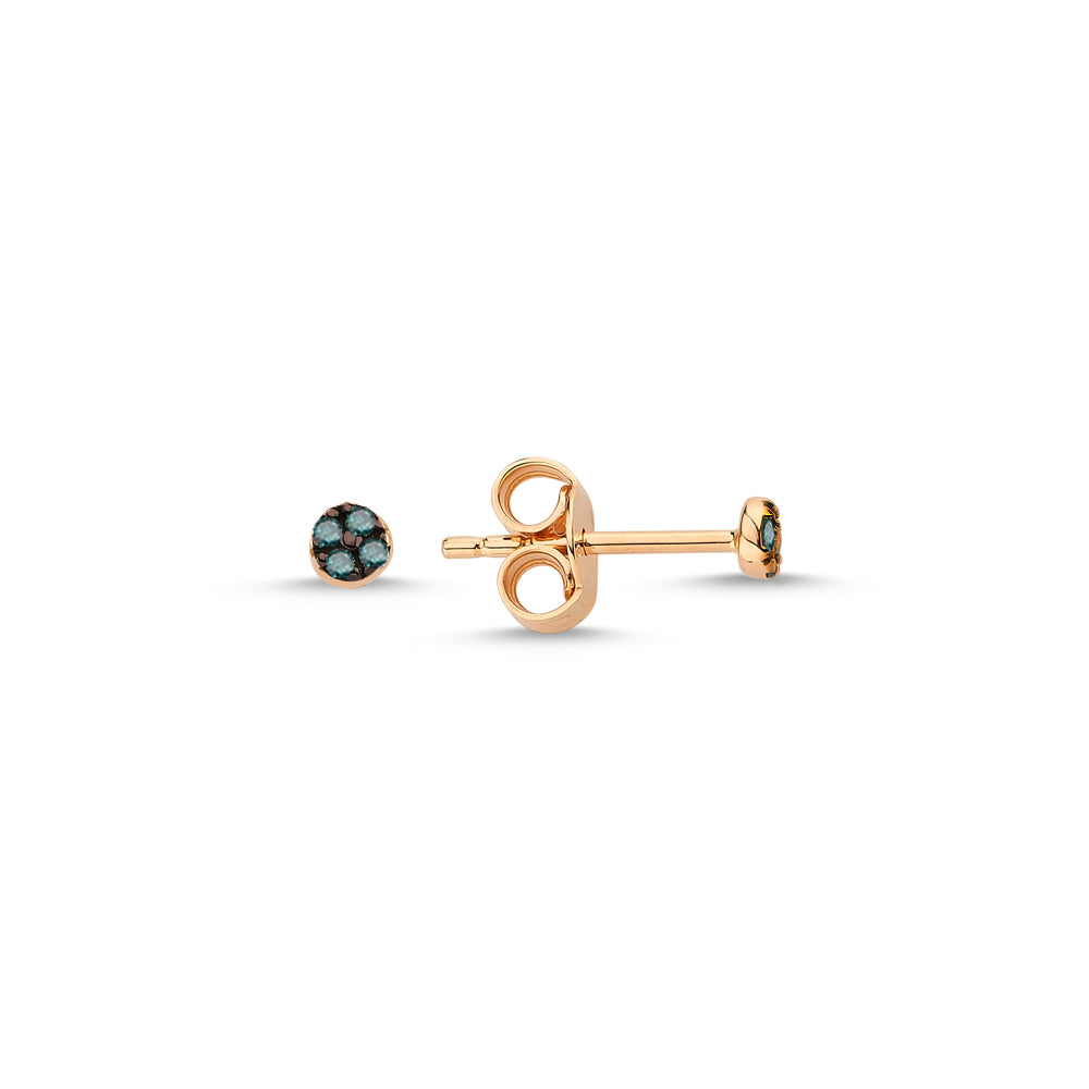 Gold Round Studs with Diamonds