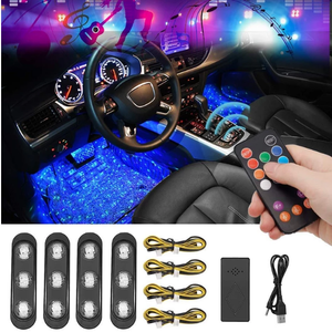 50% OFF-A12 Music Rhythm Colorful Car LED Atmosphere Star Light(4 Pieces )