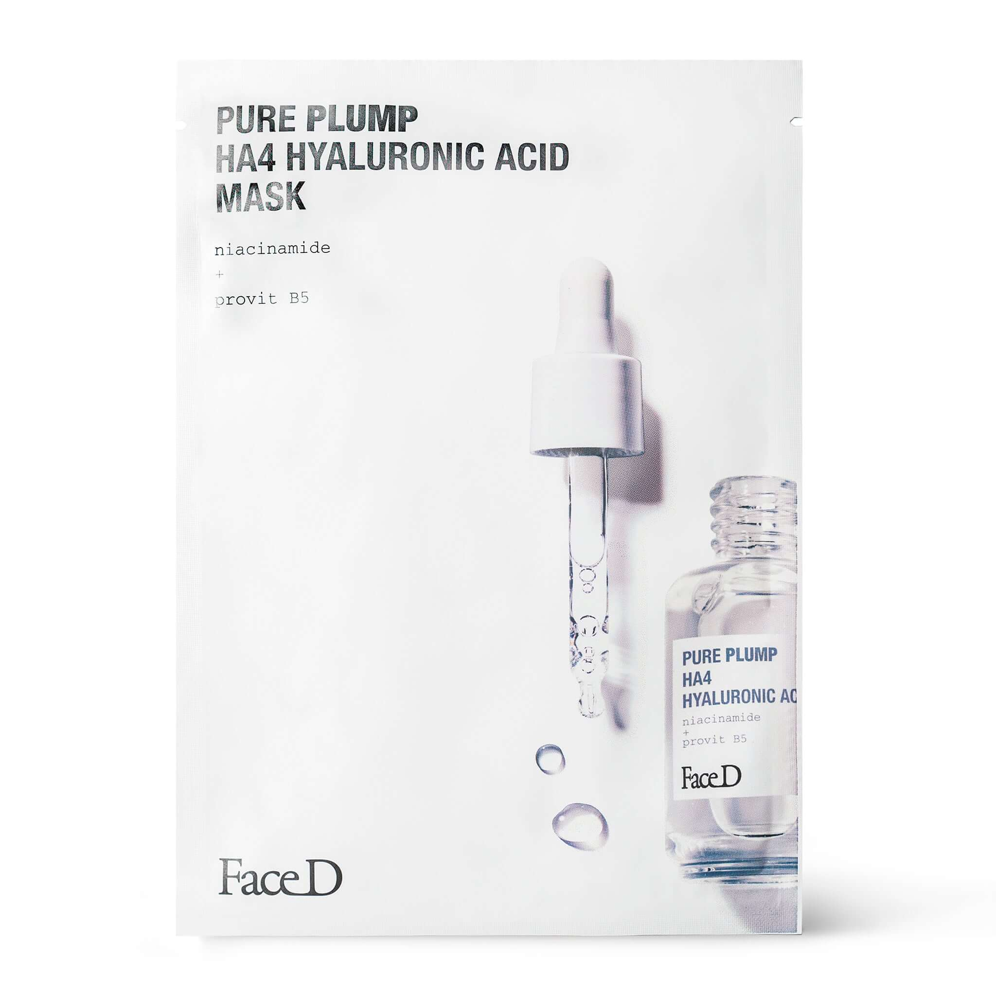 Pure-Plump-Ha4-Hyaluronic-Acid-Face-Mask-FaceD-Moisturisers || Maschera-Viso-acido-ialuronico-Pure-Plump-HA4-monodose-FaceD-idratazione