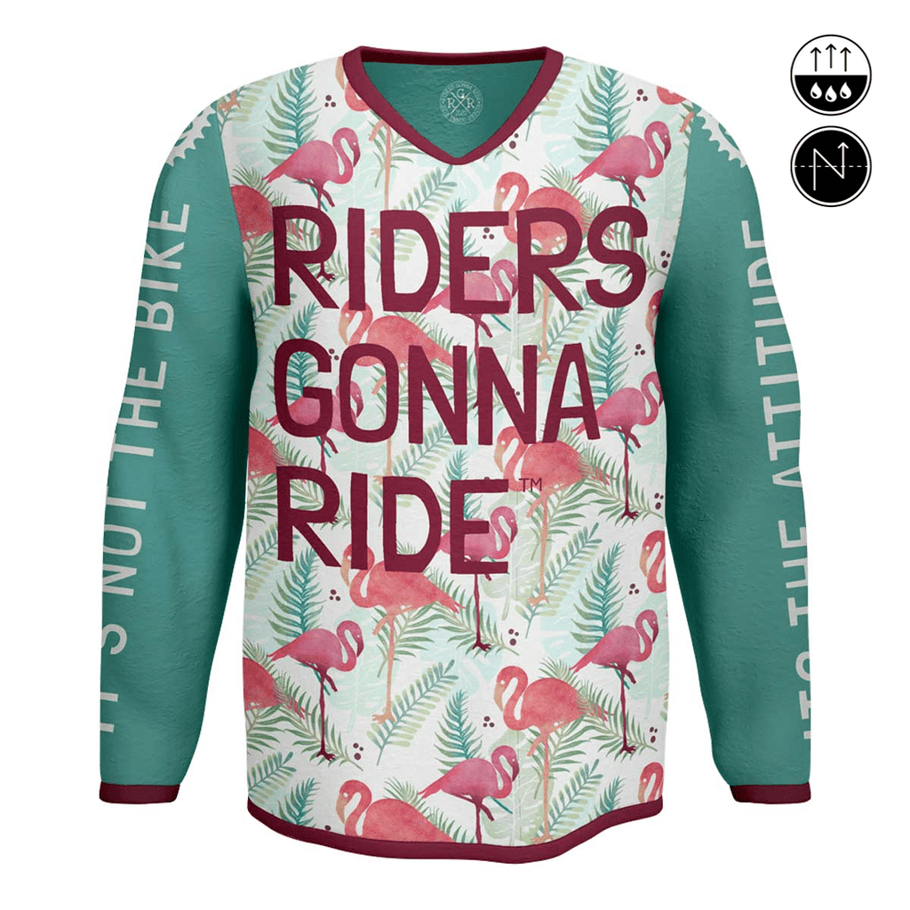 RIDERS GONNA RIDE® MTB Jersey Longsleeve FLAMINGO - RIDERS GONNA RIDE®