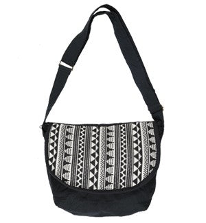 Small Cotton Black and White Messenger Bag