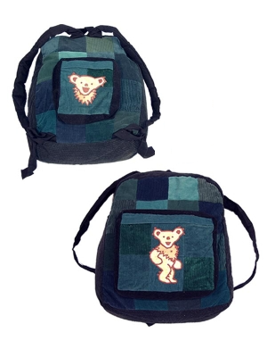 Grateful Dead Double Sided Corduroy Dancing Bear Patch Backpack