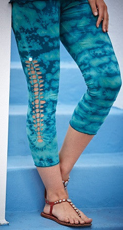 Cut and Tie Capri Tie Dye Leggings