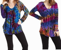 Ladies Tie Dye Spandex Long Sleeve Top