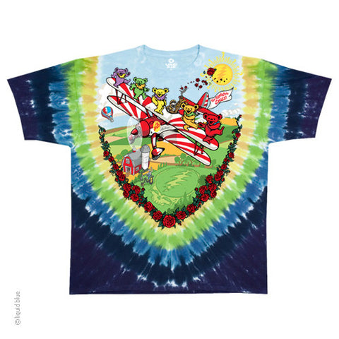 Grateful Dead Bear Biplane Tie Dye T-shirt