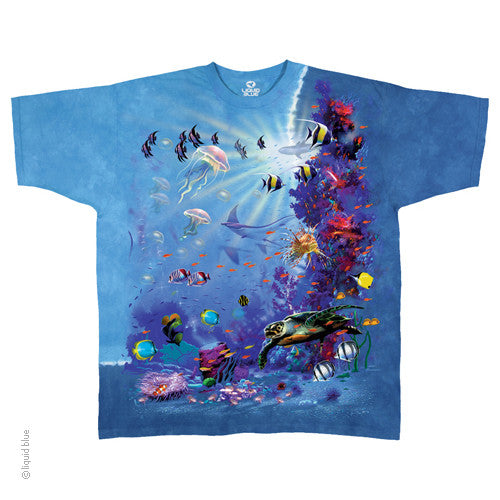 Mens Tropical Reef Tie-Dye T-Shirt