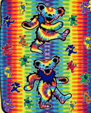 Grateful Dead Tie Dye Bear Fleece Throw Blanket