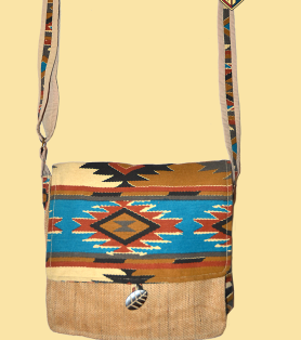 Rising Sun Ikat Print Messenger Bag