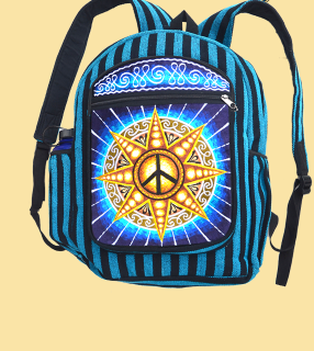 Hand Embroidered Peace Sun Backpack