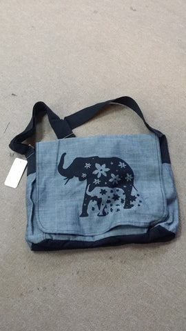 Elephant Family Print Messenger Bag