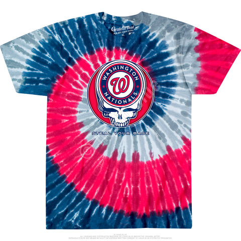 Nationals Steal Your Base Spiral Tie Dye T Shirt