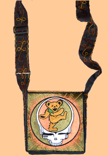 Grateful Dead Hand Embroidered Steal Your Bear Messenger Bag