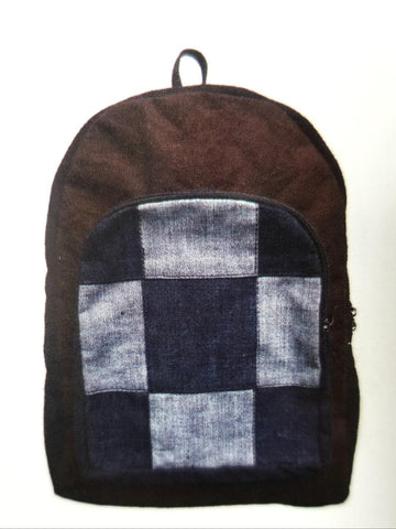 Checkered Denim Backpack