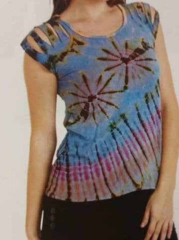 Womens Tie Dyed Split Strap T Shirt