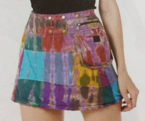 Tie Dyed Patchwork Mini Wrap Pocket Skirt