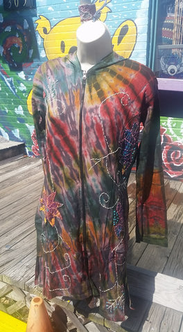 Womens Embroidered Cotton Tie Dye Jacket