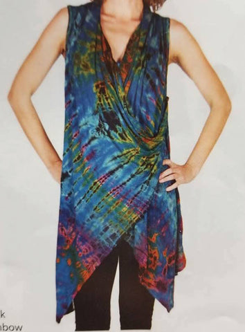 Tie Dye Long Vest with Side Button