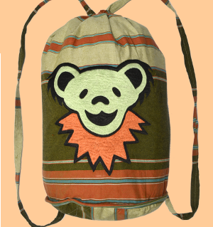 Grateful Dead Hand Embroidered Dancing Bear Drawstring Bag