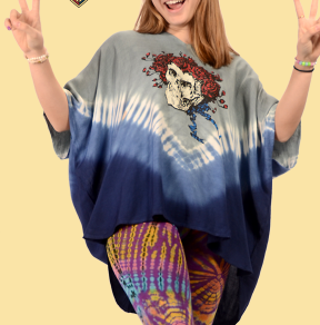 Womens Grateful Dead Bertha Tie dye Capelet Top