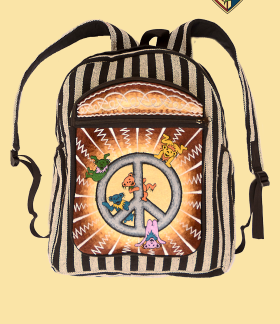 Grateful Dead Dancing Bear Peace Sign Embroidered Backpack