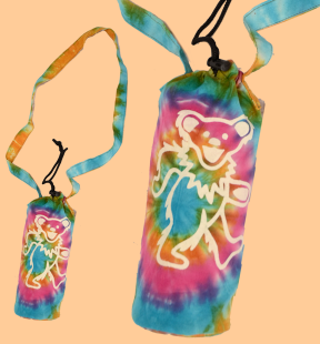 Grateful Dead Bear Tie Dye Water Bottle Bag