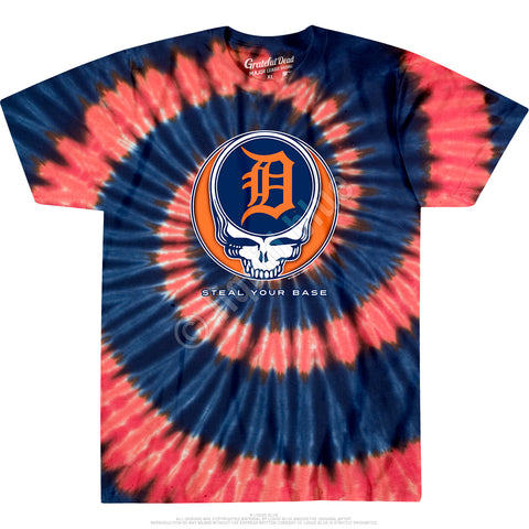 Tigers Steal Your Base Spiral Tie Dye T Shirt