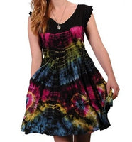 Womens Tie-Dye Babydoll Dress