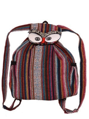 Owl Eyes Striped Tribal Backpack