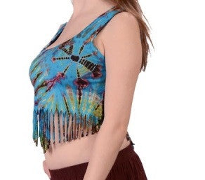 Tie-Dye Spandex Fringe Womens Crop Top