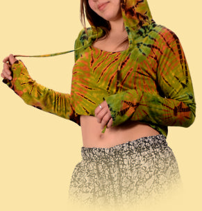 Bright Side Tie Dye Crop Hoodie Top