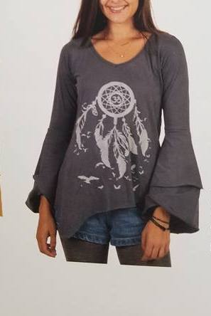 Om Dreamcatcher Cotton Bell Sleeve Top