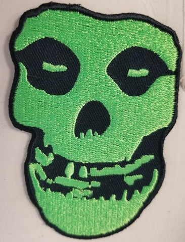 Green Misfits Skull Patch