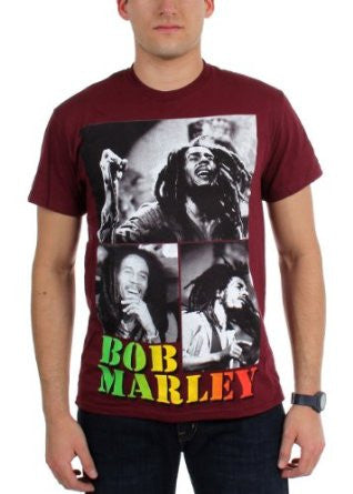 Bob Marley Collage Maroon Mens T-shirt