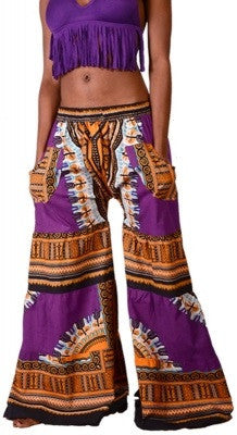 Dashiki Print Drawstring Bell Bottom Pants