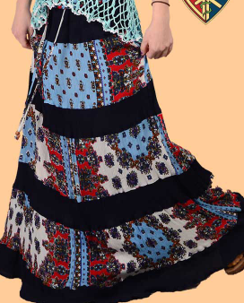 Womens Wild Horses Tiered Crinkle Long Skirt