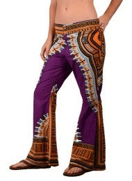 Dashiki Print Button Up Flare Pants