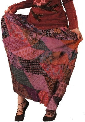 Rough Cut Patchwork Over Dye Skirt