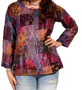 Womens Tie-Dye Patchwork Blouse