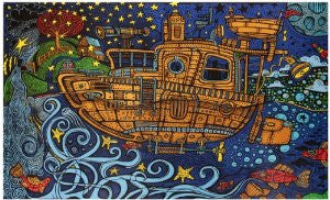 3-D Steampunk Tug Boat Tapestry