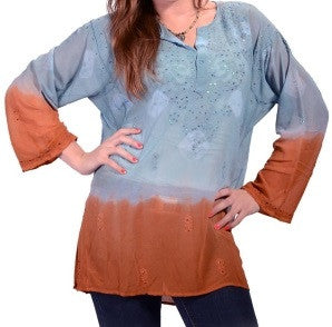 Womens Sun Dome Sheer Dip Dye Top