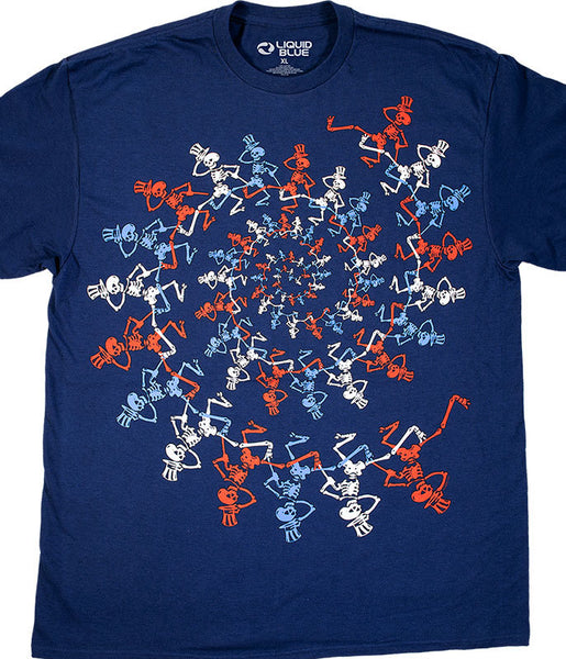 Mens USA Spiral Skeletons Grateful Dead Shirt