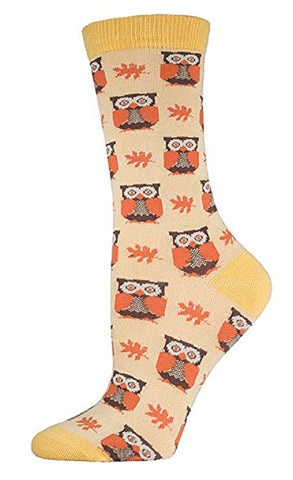 Womens Woodland Owls Bamboo Crew Socks