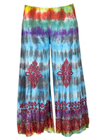 Embroidered Tie Dye Wide Legged Pants
