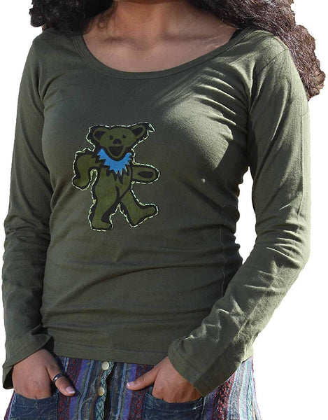 Womens Scoop Neck Long Sleeve Aiko Bear Stitched Shirt
