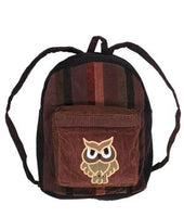 Owl Patchwork Corduroy Backpack