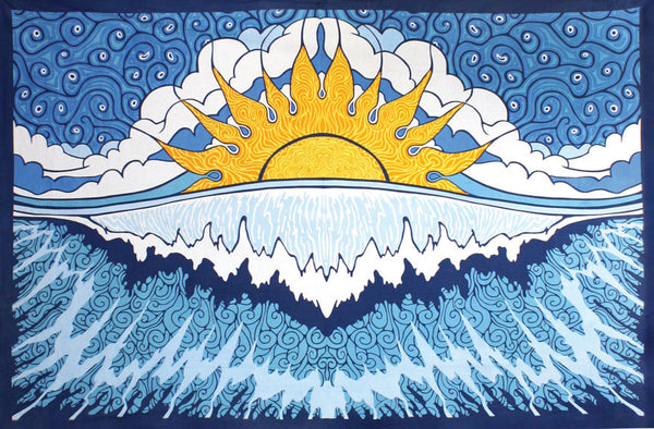 3-D Sun Wave Surf Tapestry