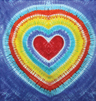 DISCONTINUED Rainbow Heart Tie-Dye Tapestry