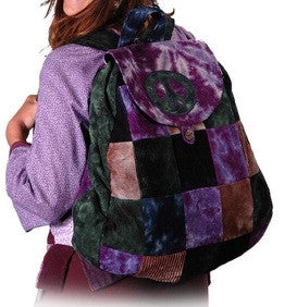 Peace Sign Patchwork Corduroy Bag Backpack