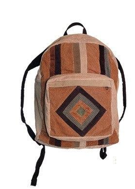 Corduroy Patchwork Diamond Backpack
